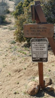 A trail-closure sign